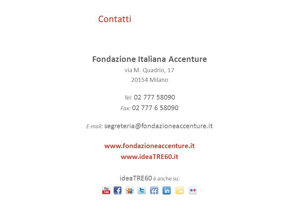 Contatti Fondazione Italiana Accenture via M. Quadrio, 17 20154 Milano Tel: 02 777 58090 Fax: 02 777 6 58090 E-mail: segreteria@fondazioneaccenture.it