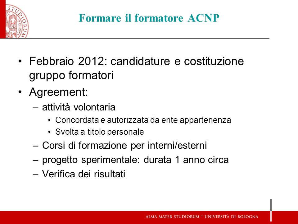 Formare il formatore ACNP Febbraio 2012: candidature e costituzione gruppo formatori Agreement: –attività volontaria Concordata e autorizzata da ente
