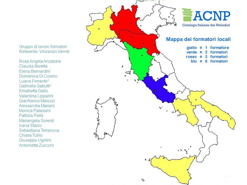 Gruppo di lavoro formatori Referente: Vincenzo Verniti Rosa Angela Anzalone Claudia Beretta Elena Bernardini Domenica Di Cosmo Luana Ferrante* Gabriel