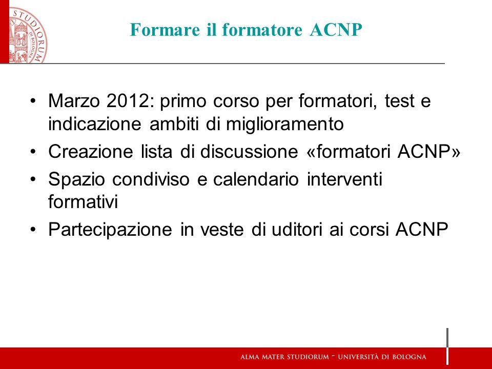 Formare il formatore ACNP Marzo 2012: primo corso per formatori, test e indicazione ambiti di miglioramento Creazione lista di discussione «formatori