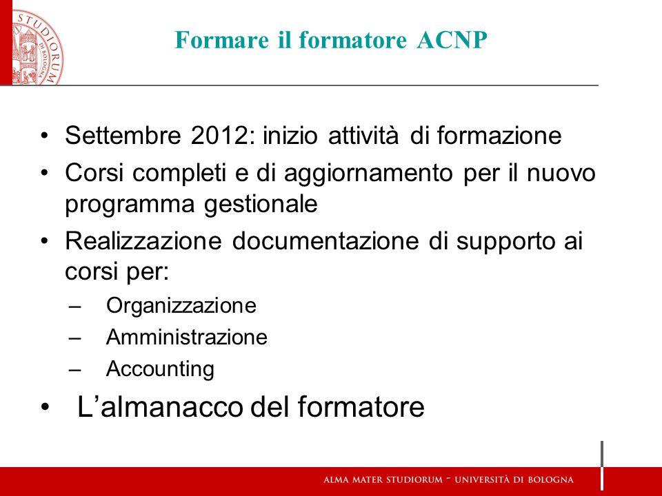 Formare il formatore ACNP Settembre 2012: inizio attività di formazione Corsi completi e di aggiornamento per il nuovo programma gestionale Realizzazi