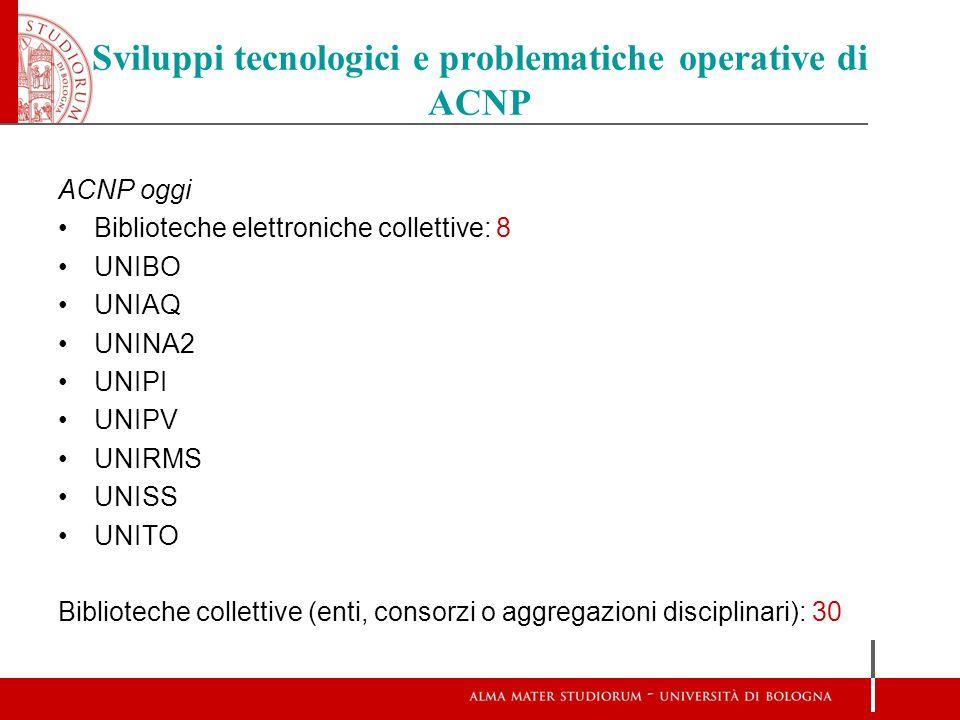 Sviluppi tecnologici e problematiche operative di ACNP ACNP oggi Biblioteche elettroniche collettive: 8 UNIBO UNIAQ UNINA2 UNIPI UNIPV UNIRMS UNISS UN