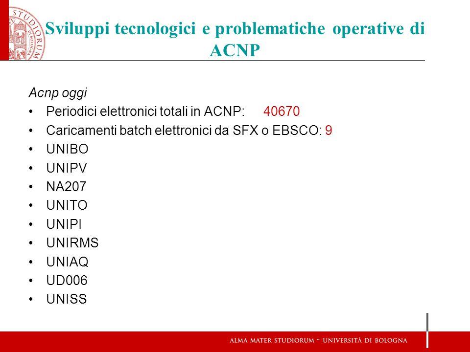 Sviluppi tecnologici e problematiche operative di ACNP ACNP oggi Caricamenti batch totali: 140 via OAI-PMH da Aleph e Sebina SBN: 27 10 biblioteche per Univ.