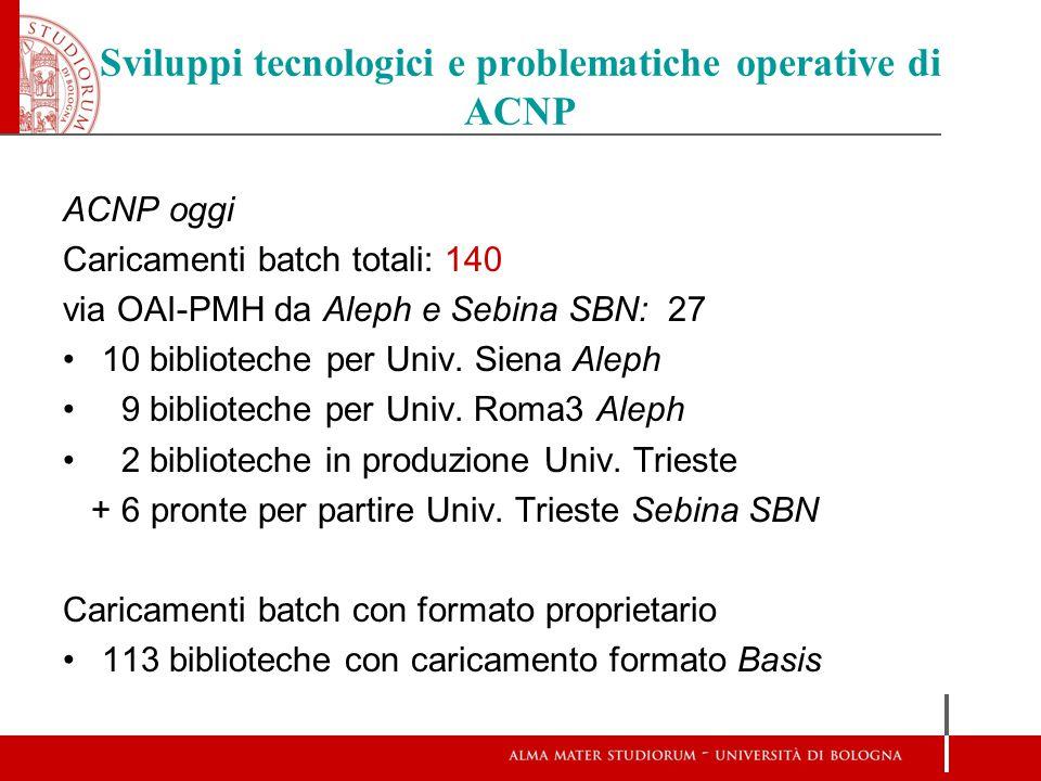 Sviluppi tecnologici e problematiche operative di ACNP ACNP oggi Caricamenti batch totali: 140 via OAI-PMH da Aleph e Sebina SBN: 27 10 biblioteche pe