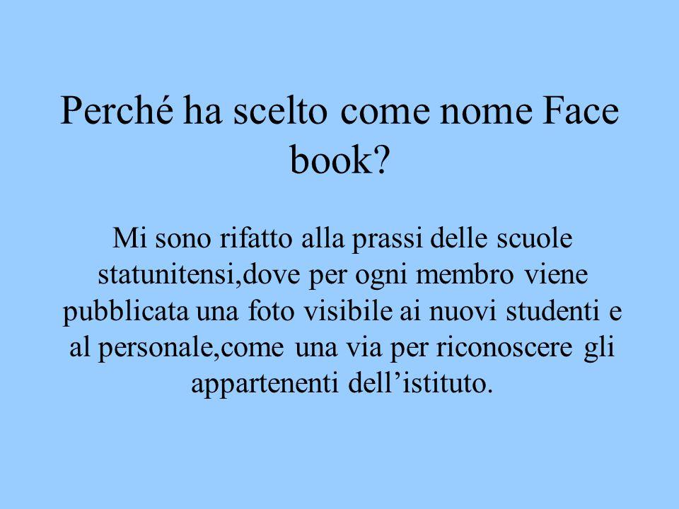 Perché ha scelto come nome Face book.