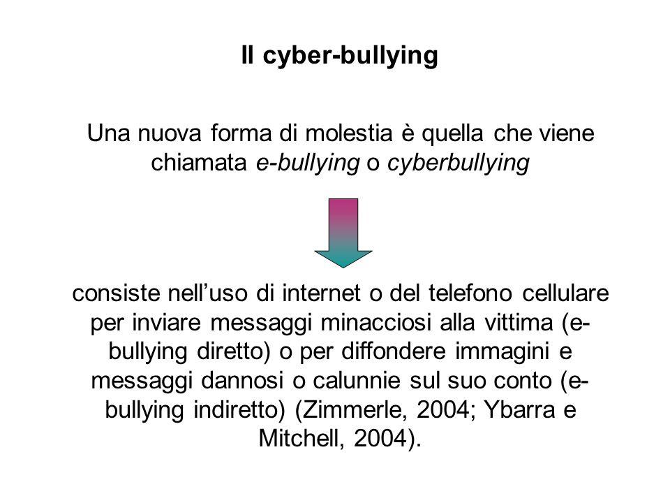 Il cyber-bullying Una nuova forma di molestia è quella che viene chiamata e-bullying o cyberbullying consiste nell'uso di internet o del telefono cell