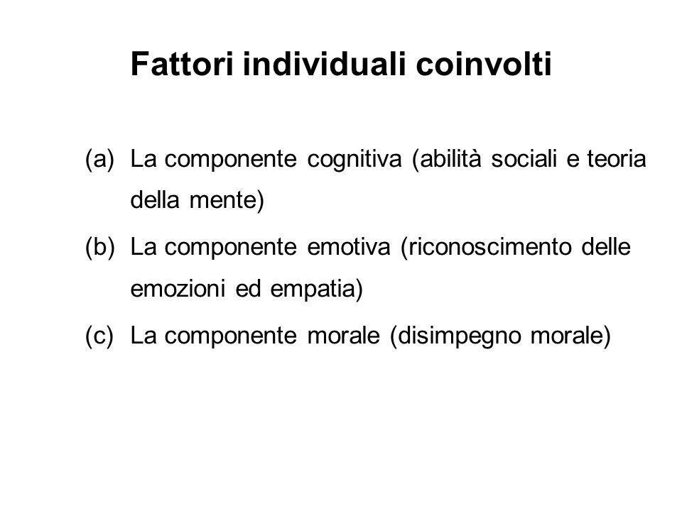 Fattori individuali coinvolti (a)La componente cognitiva (abilità sociali e teoria della mente) (b)La componente emotiva (riconoscimento delle emozion