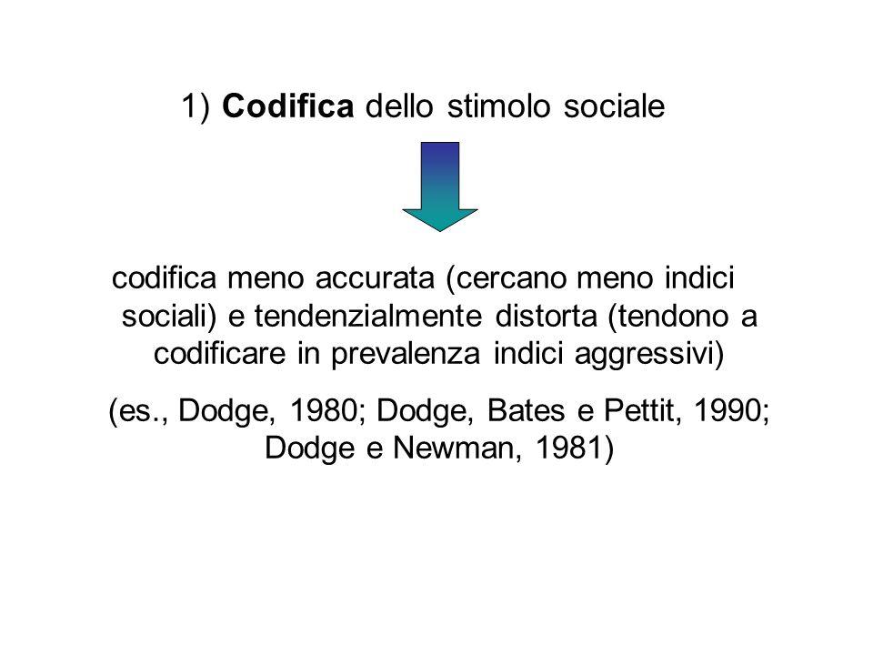 1) Codifica dello stimolo sociale codifica meno accurata (cercano meno indici sociali) e tendenzialmente distorta (tendono a codificare in prevalenza