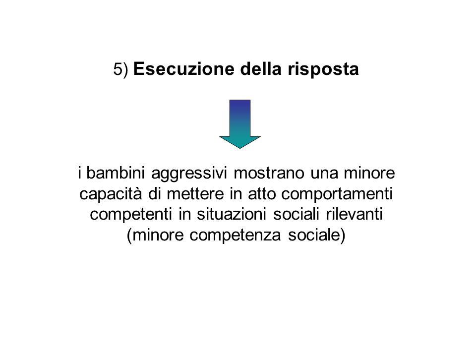 5) Esecuzione della risposta i bambini aggressivi mostrano una minore capacità di mettere in atto comportamenti competenti in situazioni sociali rilev