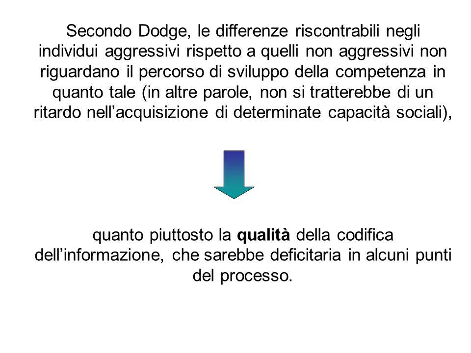 Secondo Dodge, le differenze riscontrabili negli individui aggressivi rispetto a quelli non aggressivi non riguardano il percorso di sviluppo della co