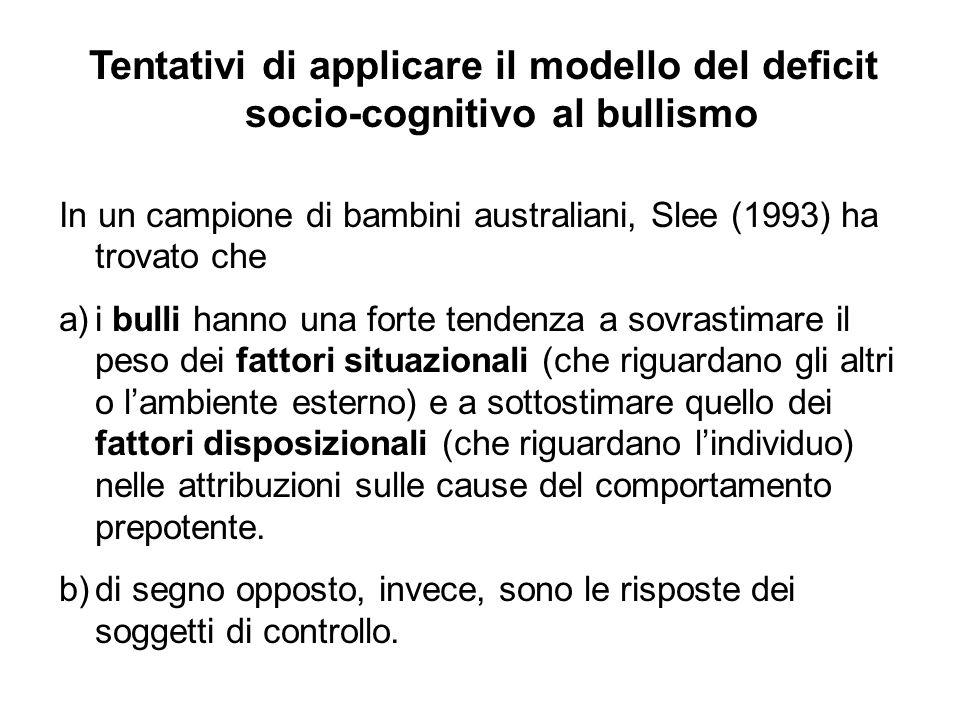 Tentativi di applicare il modello del deficit socio-cognitivo al bullismo In un campione di bambini australiani, Slee (1993) ha trovato che a)i bulli