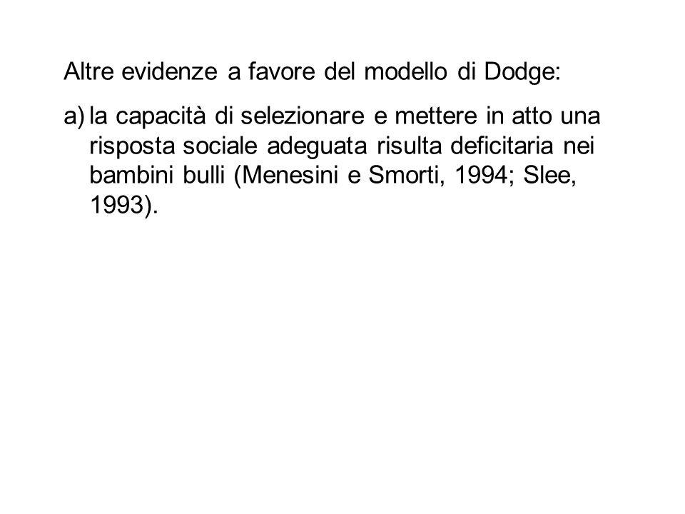 Altre evidenze a favore del modello di Dodge: a)la capacità di selezionare e mettere in atto una risposta sociale adeguata risulta deficitaria nei bam