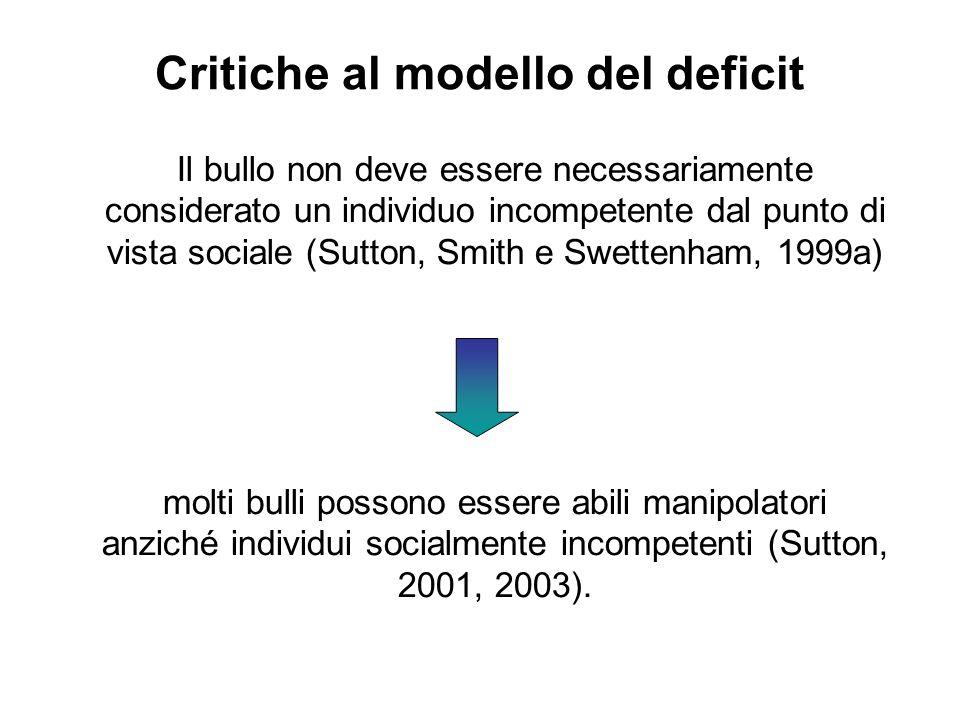 Critiche al modello del deficit Il bullo non deve essere necessariamente considerato un individuo incompetente dal punto di vista sociale (Sutton, Smi