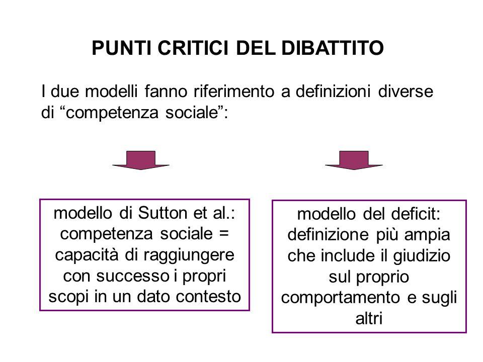 """PUNTI CRITICI DEL DIBATTITO I due modelli fanno riferimento a definizioni diverse di """"competenza sociale"""": modello del deficit: definizione più ampia"""