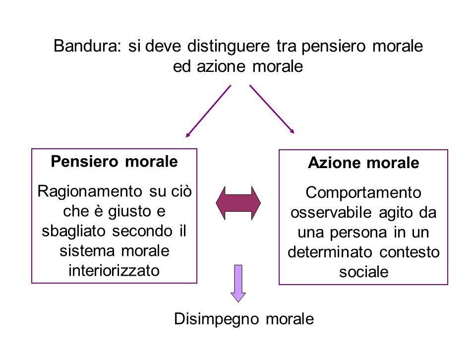 Bandura: si deve distinguere tra pensiero morale ed azione morale Pensiero morale Ragionamento su ciò che è giusto e sbagliato secondo il sistema mora