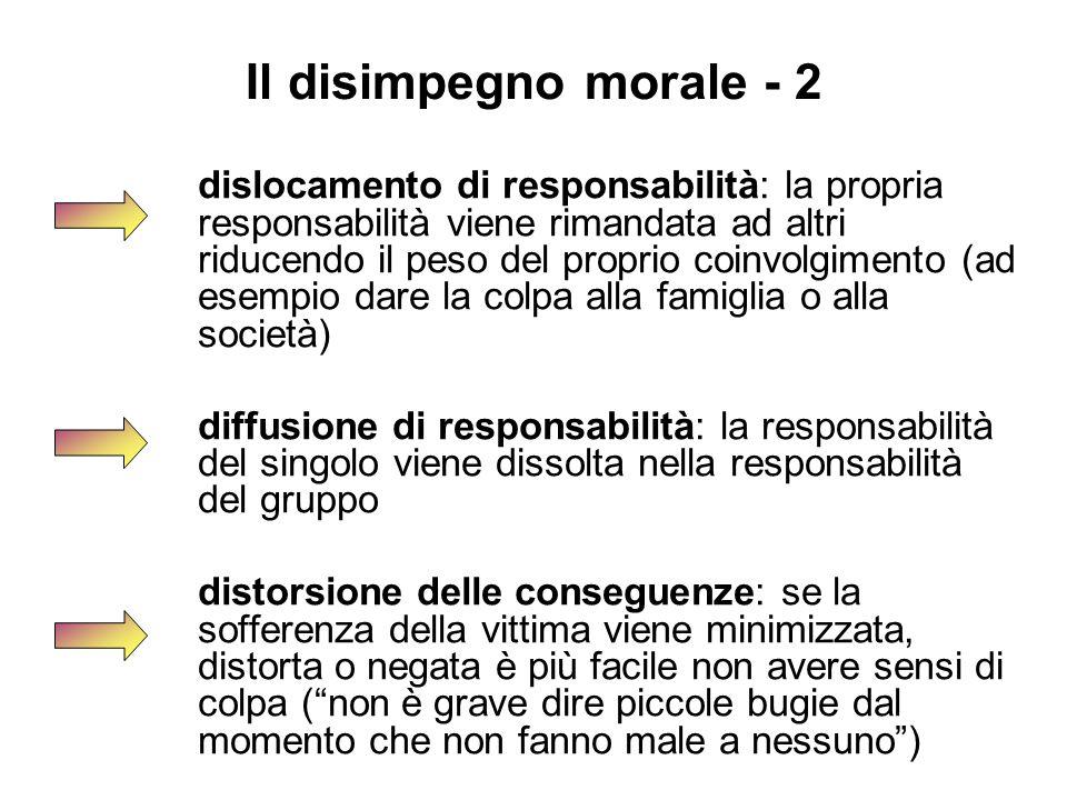 Il disimpegno morale - 2 dislocamento di responsabilità: la propria responsabilità viene rimandata ad altri riducendo il peso del proprio coinvolgimen