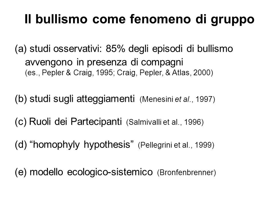 Il bullismo come fenomeno di gruppo (a) studi osservativi: 85% degli episodi di bullismo avvengono in presenza di compagni (es., Pepler & Craig, 1995;