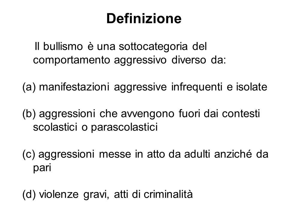 Definizione Il bullismo è una sottocategoria del comportamento aggressivo diverso da: (a) manifestazioni aggressive infrequenti e isolate (b) aggressi