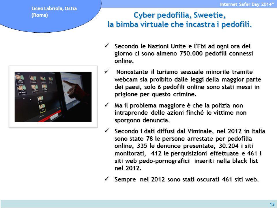 13 Internet Safer Day 2014 Liceo Labriola, Ostia (Roma) Cyber pedofilia, Sweetie, la bimba virtuale che incastra i pedofili.
