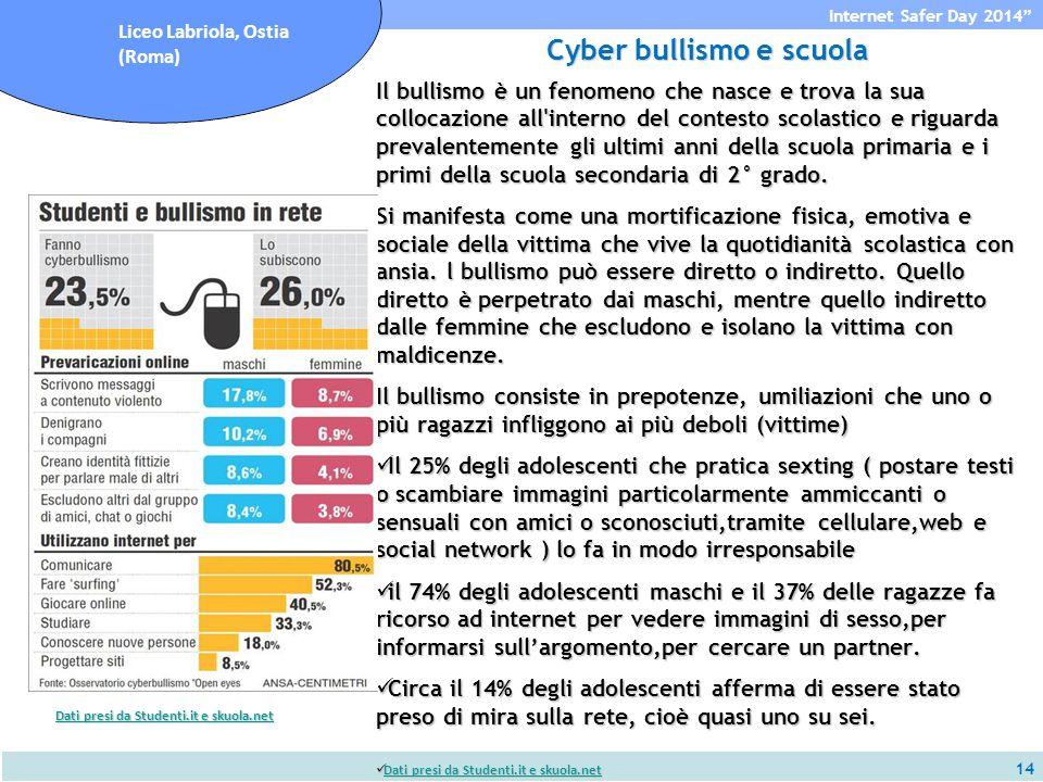 14 Internet Safer Day 2014 Liceo Labriola, Ostia (Roma) Cyber bullismo e scuola Il bullismo è un fenomeno che nasce e trova la sua collocazione all interno del contesto scolastico e riguarda prevalentemente gli ultimi anni della scuola primaria e i primi della scuola secondaria di 2° grado.
