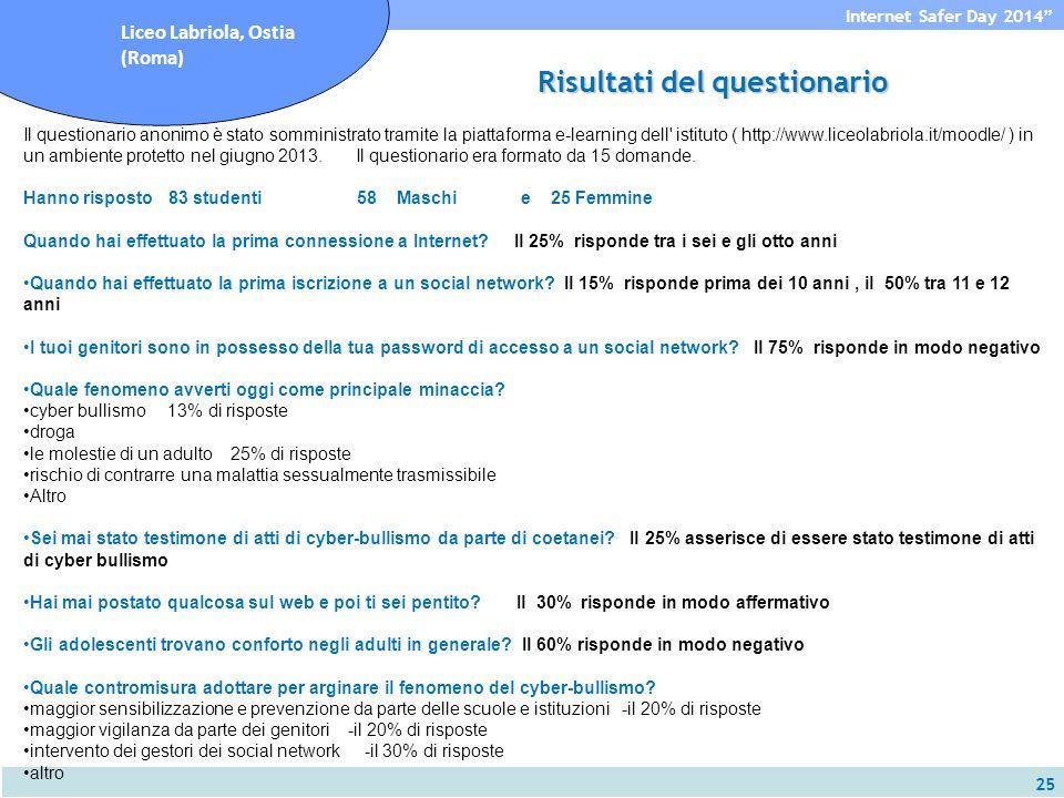 25 Internet Safer Day 2014 Liceo Labriola, Ostia (Roma) Il questionario anonimo è stato somministrato tramite la piattaforma e-learning dell istituto ( http://www.liceolabriola.it/moodle/ ) in un ambiente protetto nel giugno 2013.