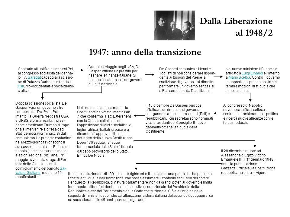 Dalla Liberazione al 1948/2 1947: anno della transizione Contrario all'unità d'azione col Pci, al congresso socialista del genna- io 47, Saragat capeg