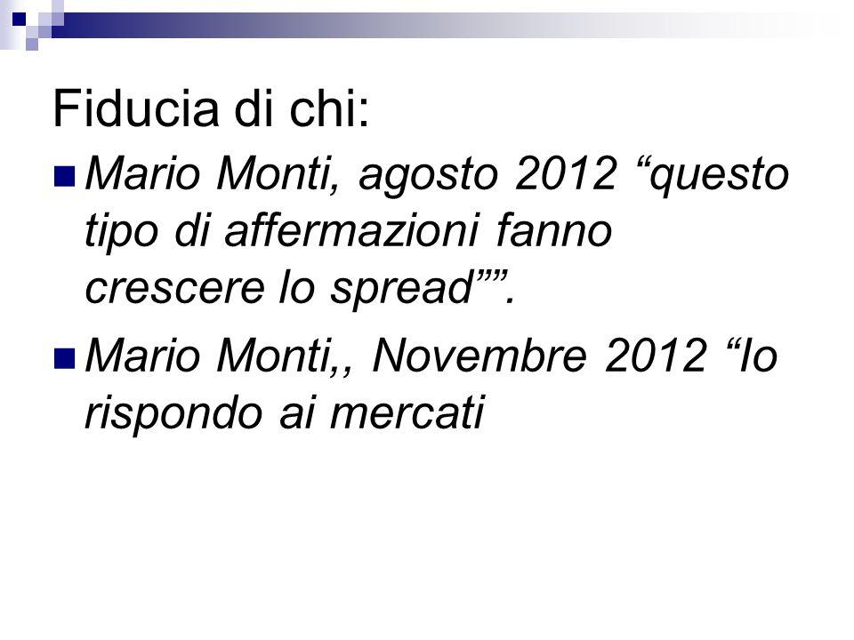 Fiducia di chi: Mario Monti, agosto 2012 questo tipo di affermazioni fanno crescere lo spread .