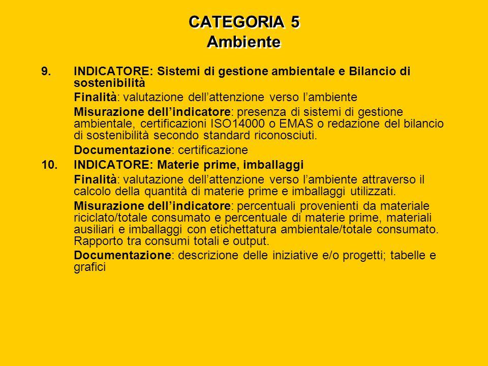 CATEGORIA 5 Ambiente 9.INDICATORE: Sistemi di gestione ambientale e Bilancio di sostenibilità Finalità: valutazione dell'attenzione verso l'ambiente Misurazione dell'indicatore: presenza di sistemi di gestione ambientale, certificazioni ISO14000 o EMAS o redazione del bilancio di sostenibilità secondo standard riconosciuti.