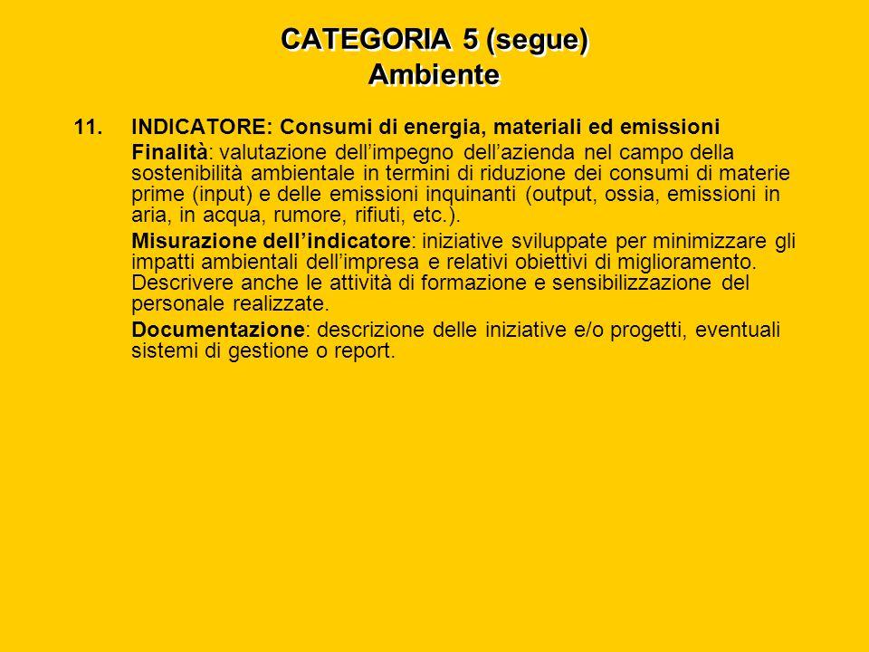 CATEGORIA 5 (segue) Ambiente 11.INDICATORE: Consumi di energia, materiali ed emissioni Finalità: valutazione dell'impegno dell'azienda nel campo della sostenibilità ambientale in termini di riduzione dei consumi di materie prime (input) e delle emissioni inquinanti (output, ossia, emissioni in aria, in acqua, rumore, rifiuti, etc.).