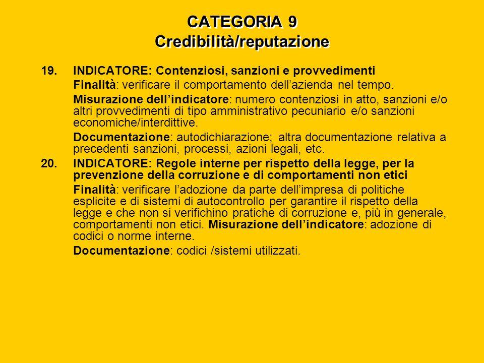 CATEGORIA 9 Credibilità/reputazione 19.INDICATORE: Contenziosi, sanzioni e provvedimenti Finalità: verificare il comportamento dell'azienda nel tempo.