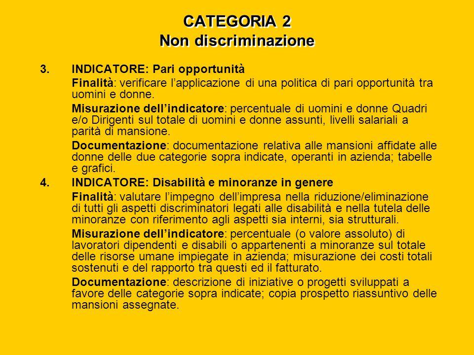 CATEGORIA 2 Non discriminazione 3.INDICATORE: Pari opportunità Finalità: verificare l'applicazione di una politica di pari opportunità tra uomini e donne.