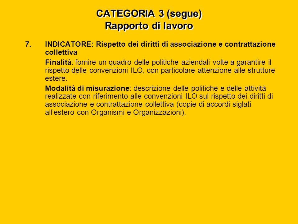 CATEGORIA 3 (segue) Rapporto di lavoro 7.INDICATORE: Rispetto dei diritti di associazione e contrattazione collettiva Finalità: fornire un quadro delle politiche aziendali volte a garantire il rispetto delle convenzioni ILO, con particolare attenzione alle strutture estere.