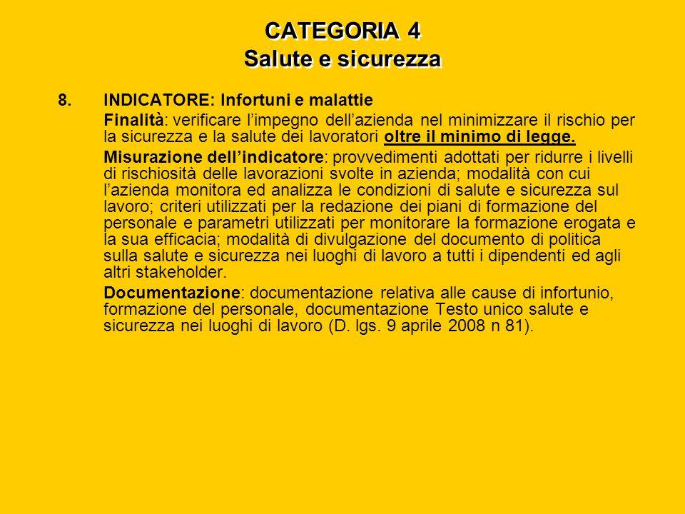 CATEGORIA 4 Salute e sicurezza 8.