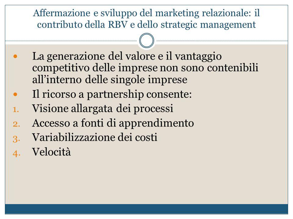 Affermazione e sviluppo del marketing relazionale: il contributo della RBV e dello strategic management La generazione del valore e il vantaggio compe