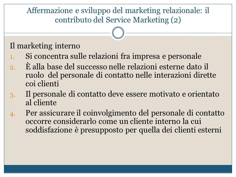 Affermazione e sviluppo del marketing relazionale: il contributo del Service Marketing (2) Il marketing interno 1. Si concentra sulle relazioni fra im