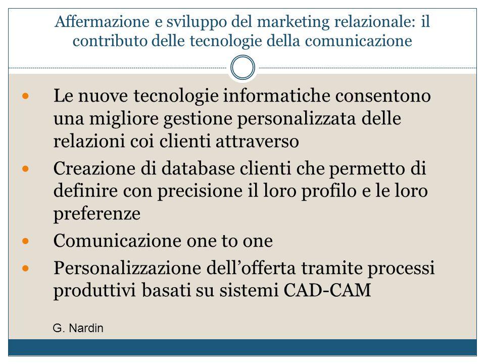 Affermazione e sviluppo del marketing relazionale: il contributo delle tecnologie della comunicazione Le nuove tecnologie informatiche consentono una