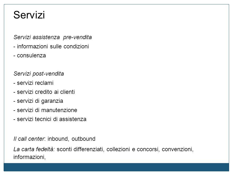 Servizi Servizi assistenza pre-vendita - informazioni sulle condizioni - consulenza Servizi post-vendita - servizi reclami - servizi credito ai client