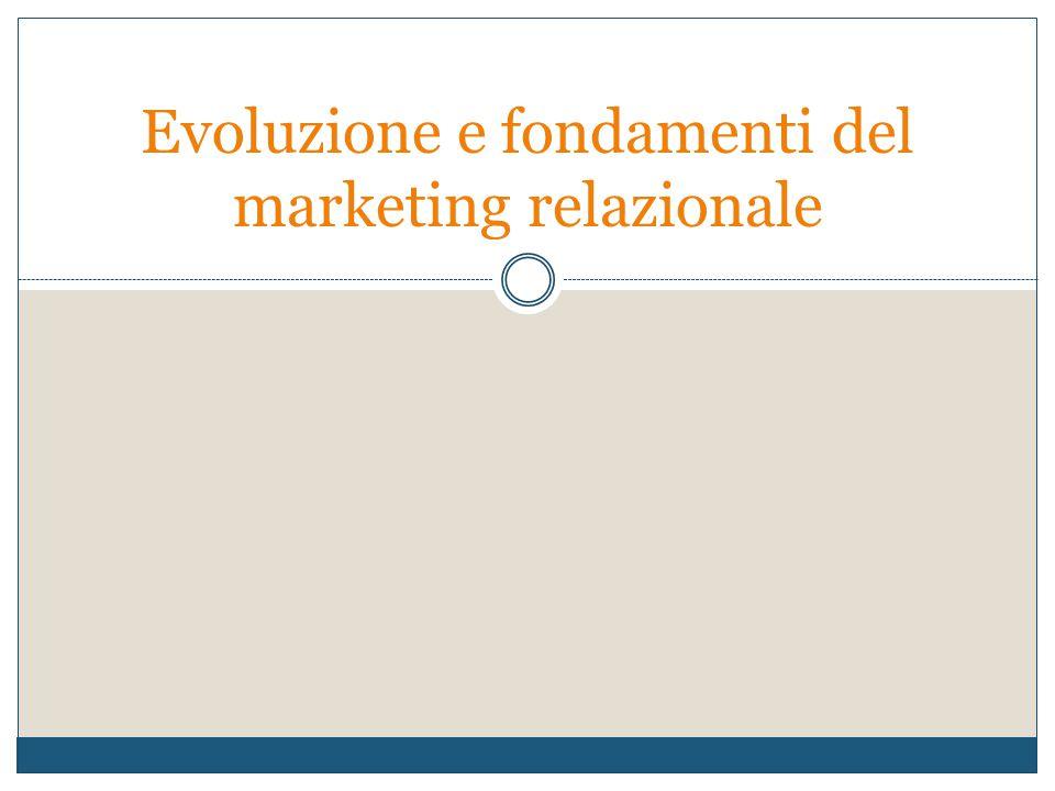 Anche Kotler (1992) afferma: Le imprese devono spostare la loro attenzione da obiettivi a breve termine, incentrati sulle transazioni, a obiettivi rivolti alla costruzione di relazioni a lungo termine con i clienti La tendenza investe sia i rapporti con i consumatori che con i fornitori e gli intermediari commerciali.