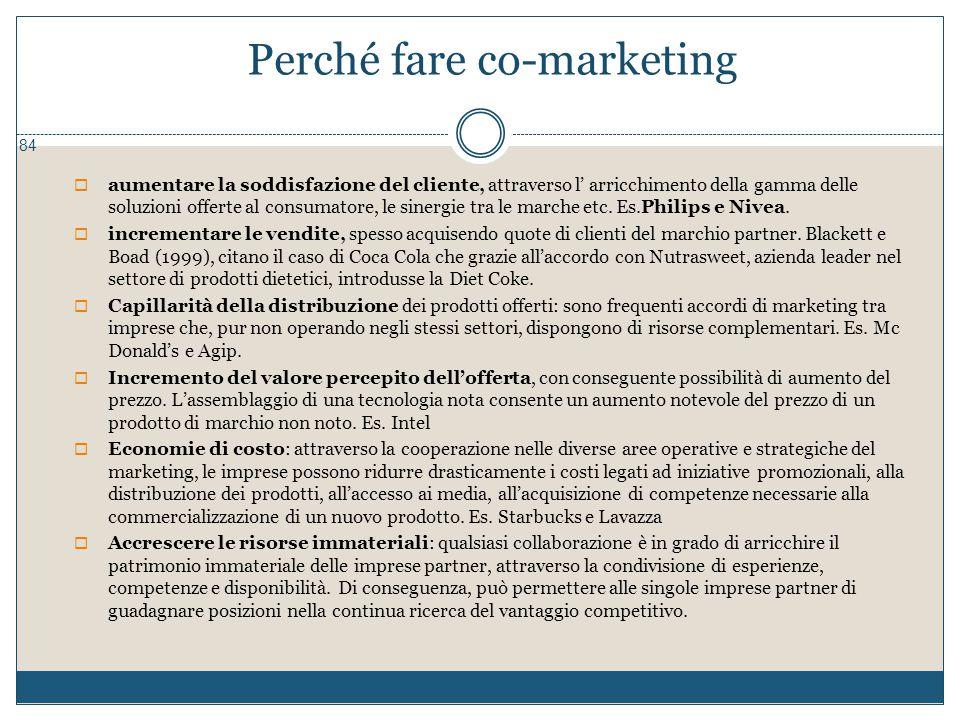 Perché fare co-marketing 84  aumentare la soddisfazione del cliente, attraverso l' arricchimento della gamma delle soluzioni offerte al consumatore,