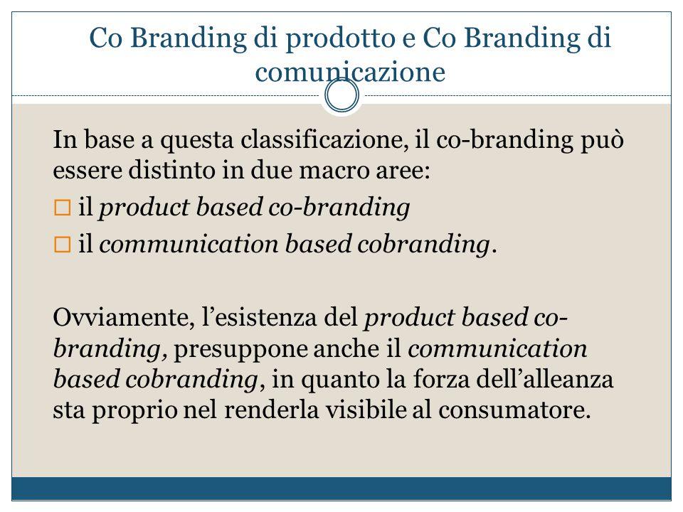 Co Branding di prodotto e Co Branding di comunicazione In base a questa classificazione, il co-branding può essere distinto in due macro aree:  il pr