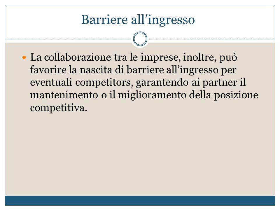 Barriere all'ingresso La collaborazione tra le imprese, inoltre, può favorire la nascita di barriere all'ingresso per eventuali competitors, garantend