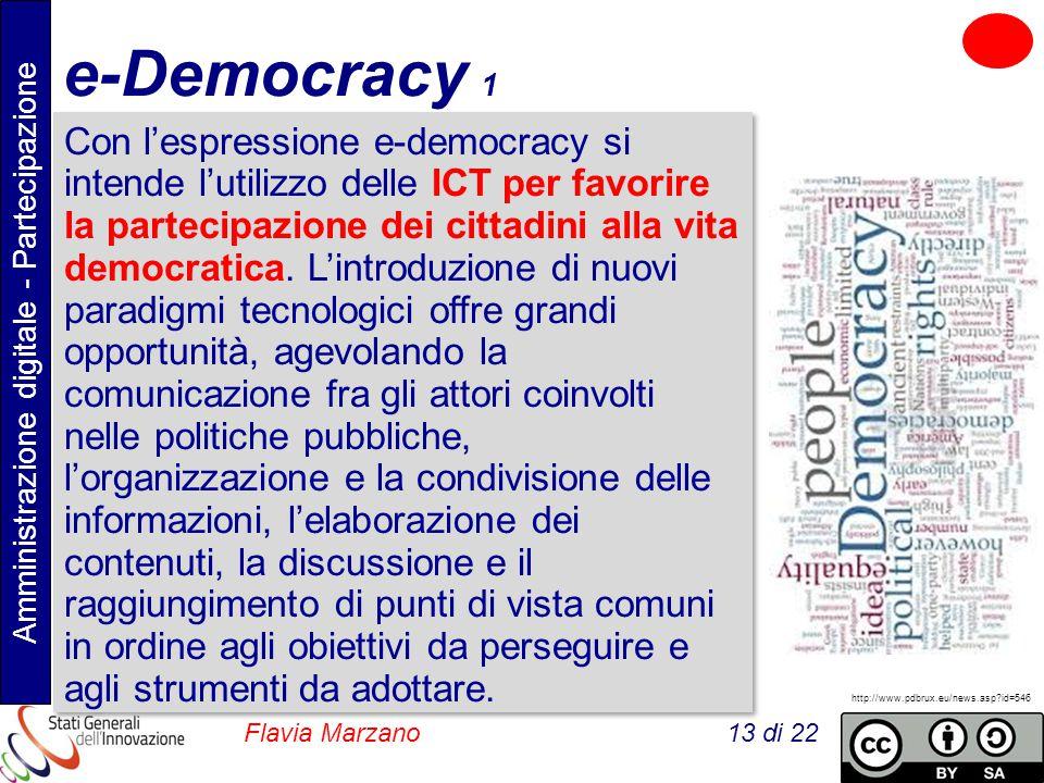 Amministrazione digitale - Partecipazione Flavia Marzano 13 di 22 e-Democracy 1 Con l'espressione e-democracy si intende l'utilizzo delle ICT per favorire la partecipazione dei cittadini alla vita democratica.