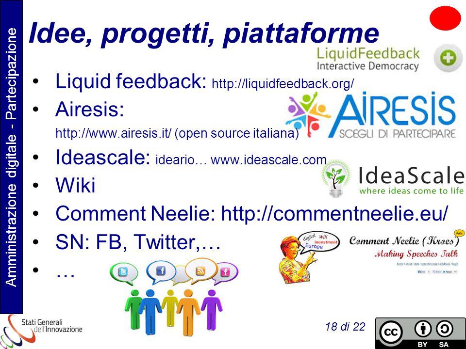 Amministrazione digitale - Partecipazione Flavia Marzano 18 di 22 Idee, progetti, piattaforme Liquid feedback: http://liquidfeedback.org/ Airesis: http://www.airesis.it/ (open source italiana) Ideascale: ideario… www.ideascale.com Wiki Comment Neelie: http://commentneelie.eu/ SN: FB, Twitter,… …