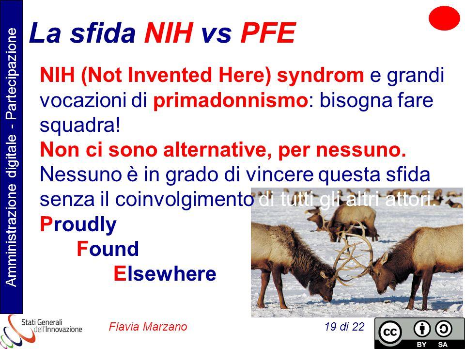 Amministrazione digitale - Partecipazione Flavia Marzano 19 di 22 La sfida NIH vs PFE NIH (Not Invented Here) syndrom e grandi vocazioni di primadonnismo: bisogna fare squadra.
