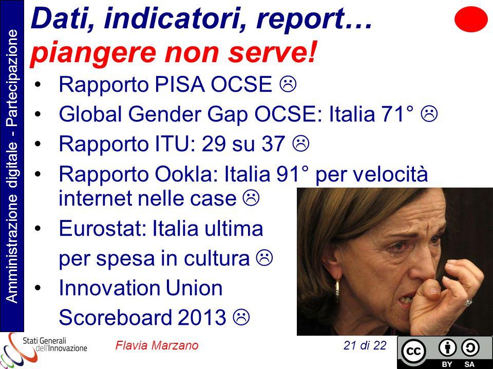 Amministrazione digitale - Partecipazione Flavia Marzano 21 di 22 Dati, indicatori, report… piangere non serve.