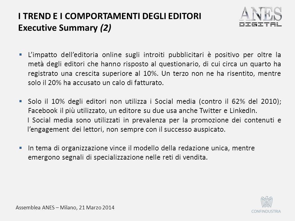 Assemblea ANES – Milano, 21 Marzo 2014  L'impatto dell'editoria online sugli introiti pubblicitari è positivo per oltre la metà degli editori che han