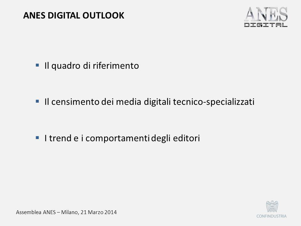  Il quadro di riferimento  Il censimento dei media digitali tecnico-specializzati  I trend e i comportamenti degli editori ANES DIGITAL OUTLOOK