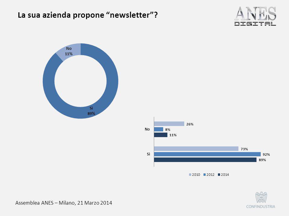 """Assemblea ANES – Milano, 21 Marzo 2014 La sua azienda propone """"newsletter""""?"""