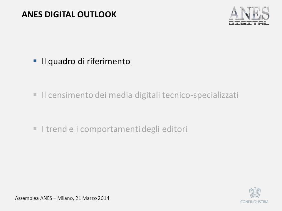 Assemblea ANES – Milano, 21 Marzo 2014  Il quadro di riferimento  Il censimento dei media digitali tecnico-specializzati  I trend e i comportamenti