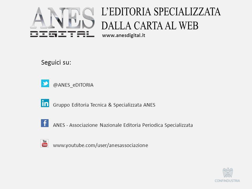 @ANES_eDITORIA Gruppo Editoria Tecnica & Specializzata ANES ANES - Associazione Nazionale Editoria Periodica Specializzata www.youtube.com/user/anesas